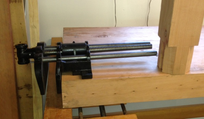 Vise at the front edge of the bench