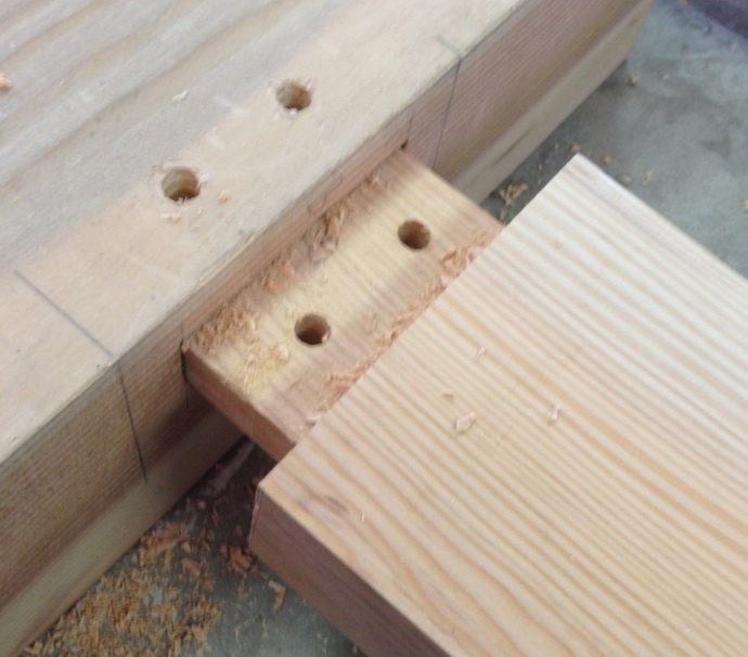 Peg Holes Drilled, Tenon holes are offset by 1/16.