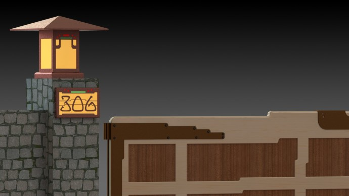 Gate Mockup With Lamp