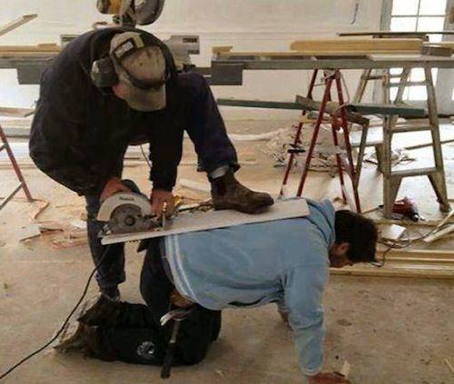 Dude, put your safety glasses on before picking up a power tool!