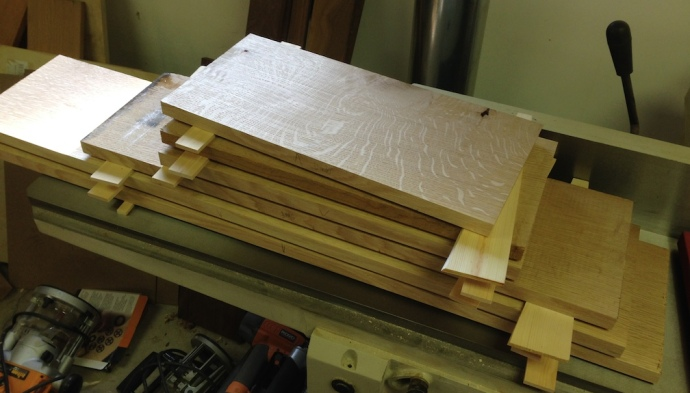 All of the pieces for the carcase jointed on one side and one edge.  I need to change the knives in my planer tomorrow before thicknessing these.