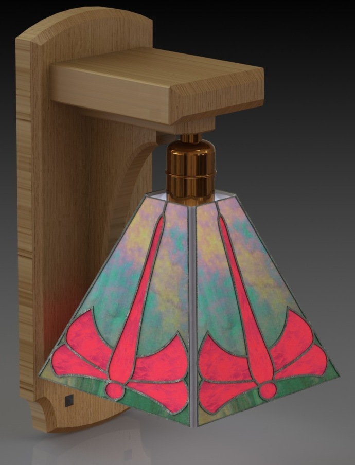 CAD rendering for the Dragonfly sconce