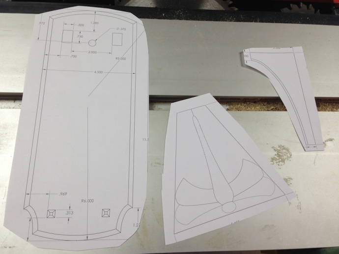 Full scale layout for the main parts