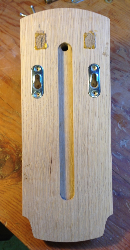 Back of the sconce body - the tenon ends need to be flushed up after the glue is fully dry