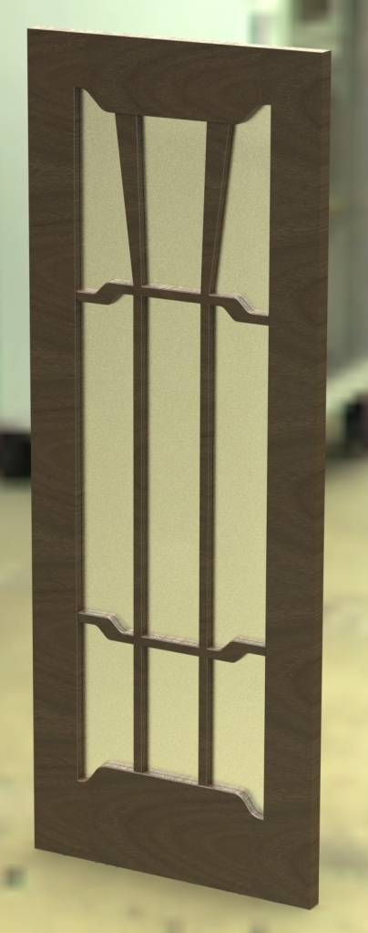 Quickie model rendered using a dark wood.  The glass should be clear -- I wouldn't make it with frosted glass.