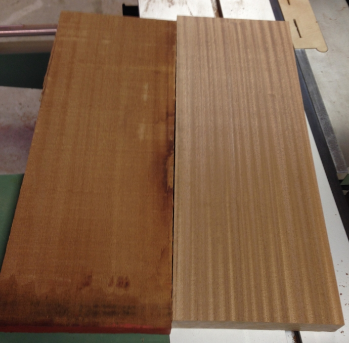 Comparison between rough and surfaced Sapele