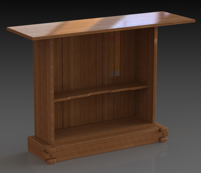 Cabinet with door removed to show shelf