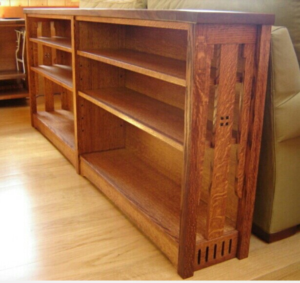 Wide mission-style bookcase I found on Pinterest -- without any attribution.