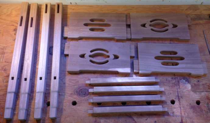 "Parts sanded and ready for the ""grain raising"" step"