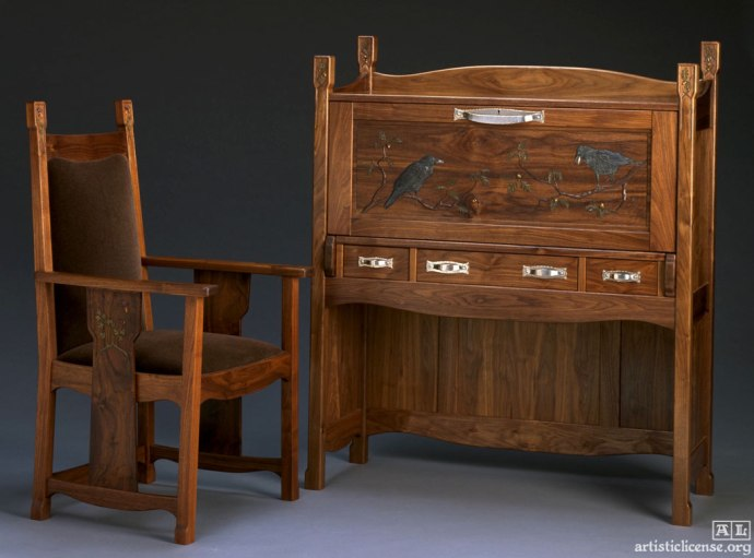 "Voysey Desk and Chair. Desk: 53""H, 44""W, 17""D. Chair: 45""H, 23""W, 22""D. Black walnut. Photo: David Ramsey."
