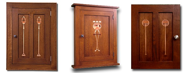 """There cabinet doors with veneered """"inlay"""" (marquetry, really) panels"""