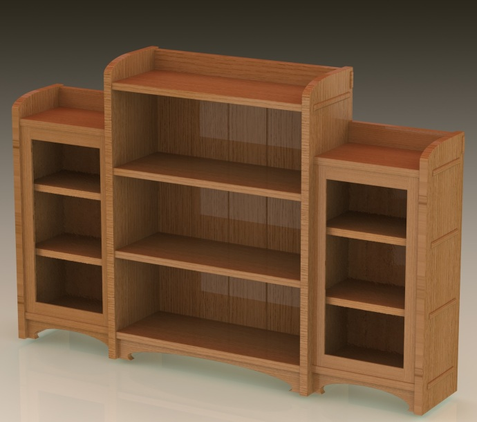 First complete version of the bookcase, with long through tenons