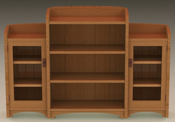 Version 3 of the bookcase, front view, looking down
