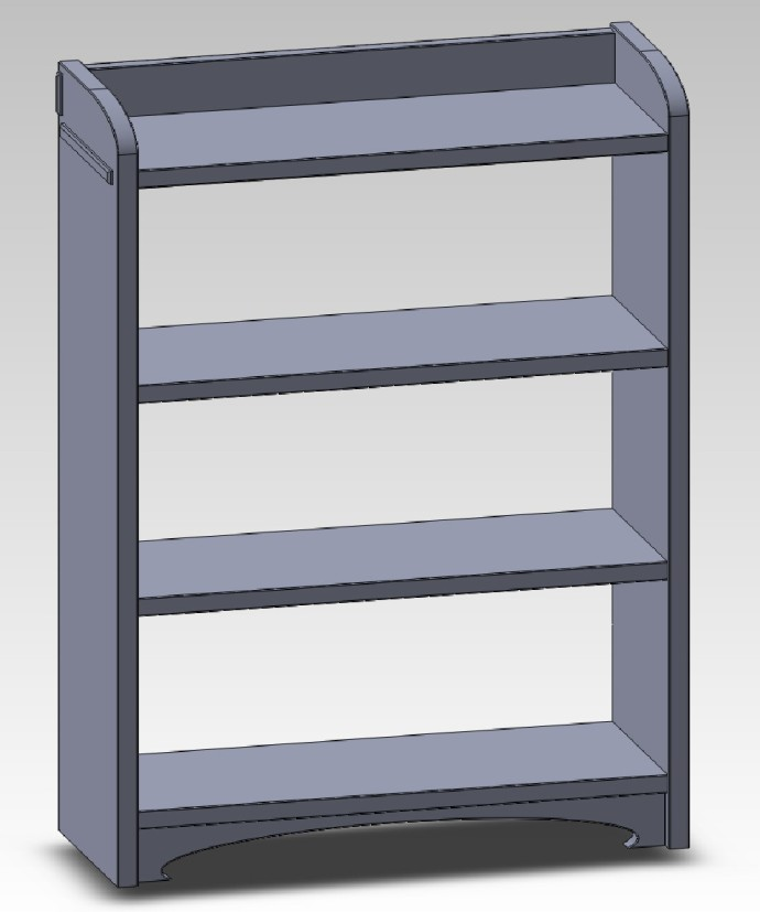 Mockup of the central bookcase unit