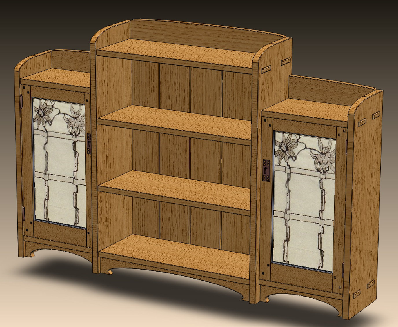 Arts crafts bookcase mcglynn on making for Arts and crafts bookshelf