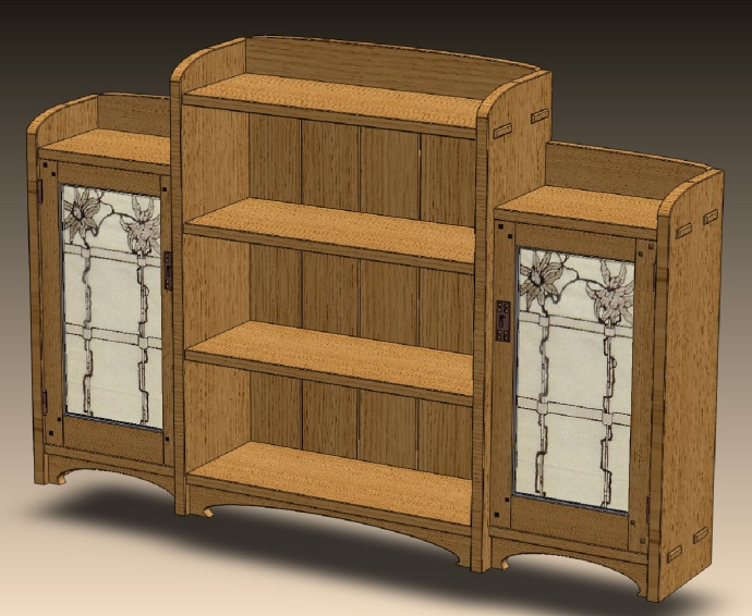 Bookcase with one Greene & Greene-designed stained glass.