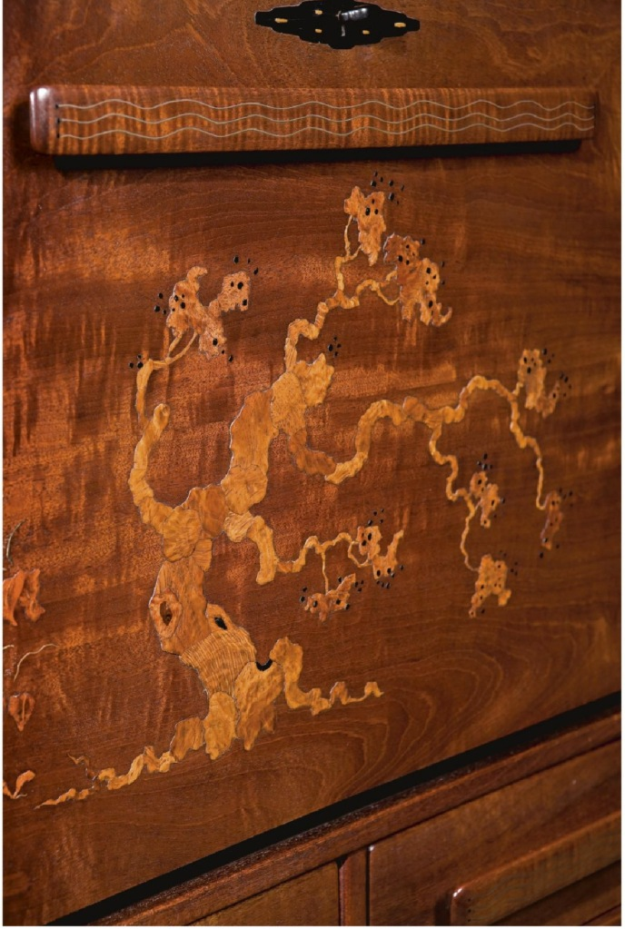 Detail of an inlaid desk done for the Pratt house