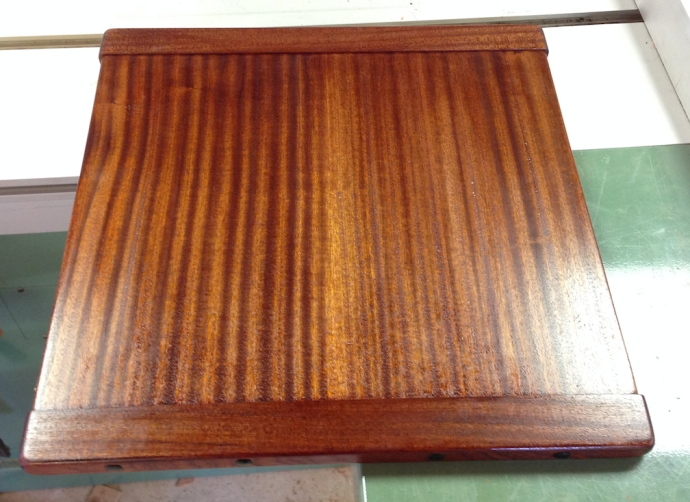 Top with 2-3 coats of shellac -- I accidentally rubbed through the shellac and stripped it after this was taken.