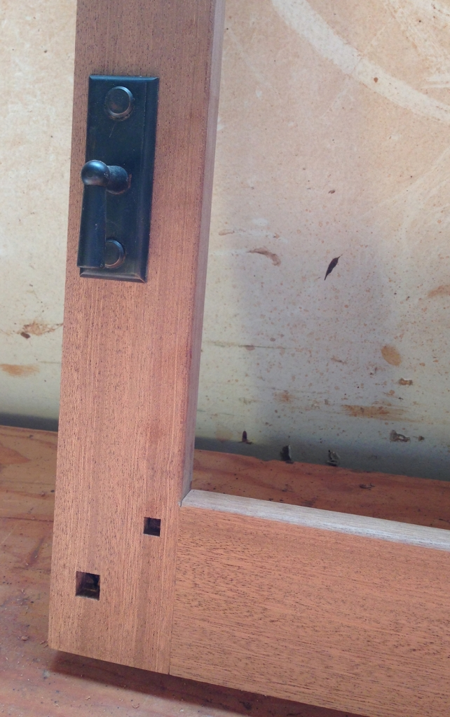 Handle test installed, square holes made for the ebony plugs
