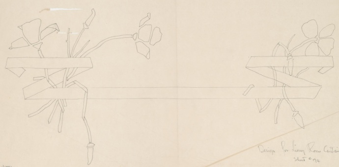 Charles Greene's design for the fabric for the curtains for the Anthony house, maybe this could be done as an inlay in the backsplash?