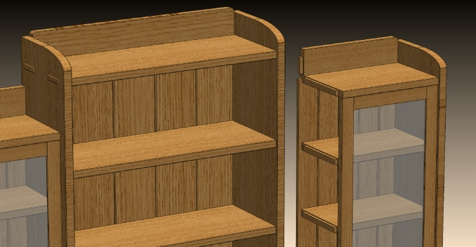 "3/8"" stub tenons join to the inner case sides.  The same from the long shelves into the sides."