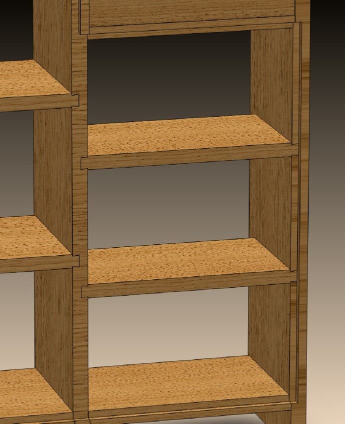 Back of modified case showing sliding dovetails for the middle shelves.