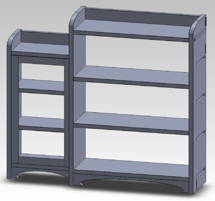 Bookcase with central unit and the left side pod in place.  The right side pod will be the same, but I don't want to do that until I check the design at this stage.