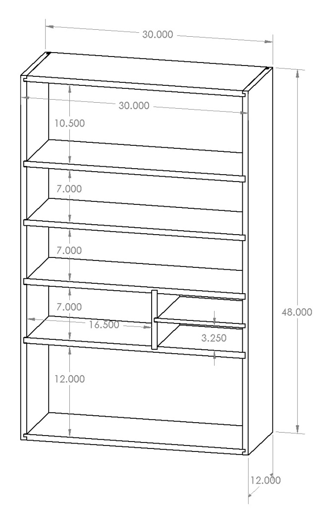 Basic Dimensions for the cabinet -- I left out the sub-divider in the end.