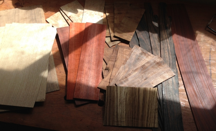 "Various ""veneers"" sliced on the bandsaw at about .110"" thick.  From the left: White Oak"
