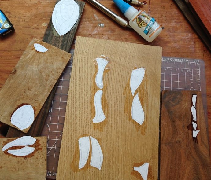 Pattern pieces glued to my inlay materials