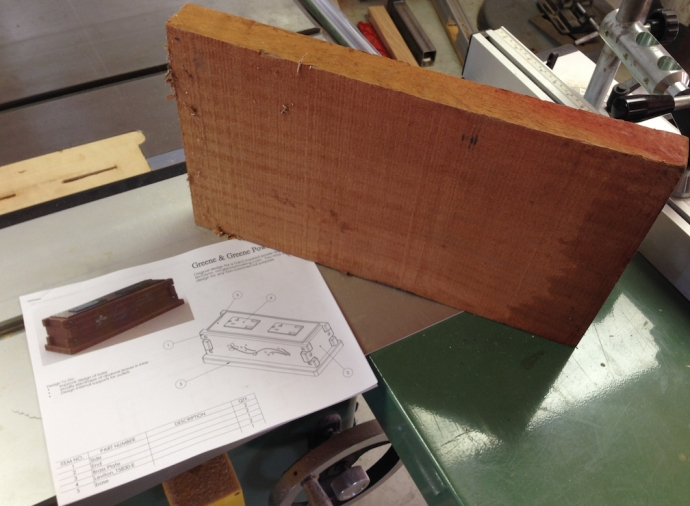 """I started with an off cut of 6/4 Sapele left over from a recent project.  It was about 15"""" long, so I figured I could get enough for a couple of power strips from it."""