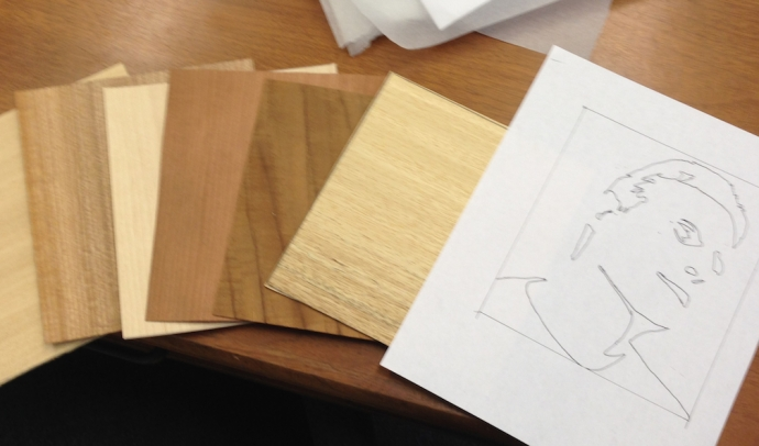 Materials for the next project.  3mm backer board, 1.5mm front board and four contrasting pieces of veneer to make four portraits.  I'm not clear who would want one portrait of me, much less four, so I'm not sure I understand the point here.