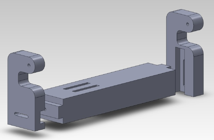 My CAD mockup of the saw support arm, based on the wood I have and the hardware kit.