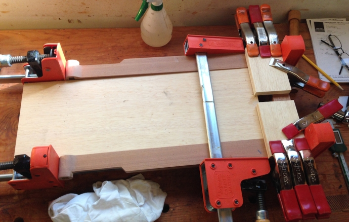 Glued up.  I need some shorter clamps, these are a pain for small parts...