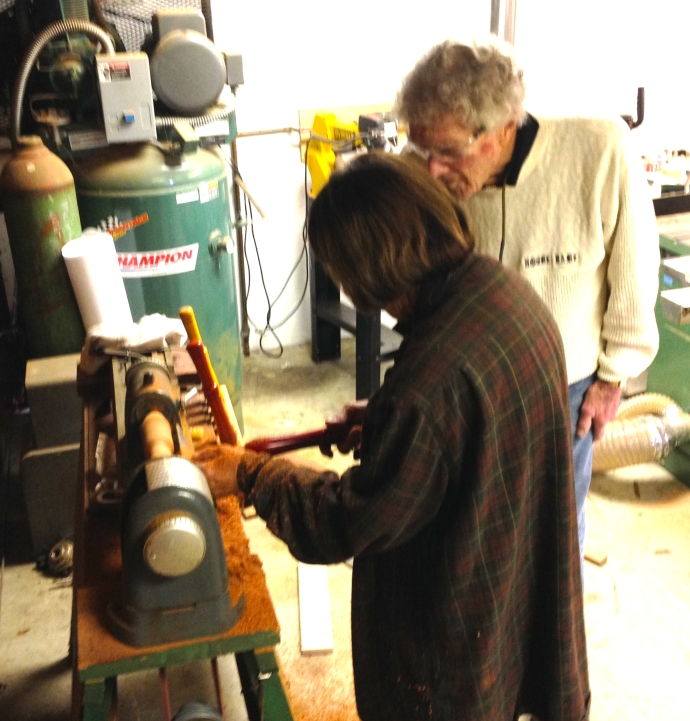 Mom working at the $75 lathe