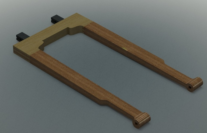 The saw frame -- I rendered the CAD model using different materials for the arms and the back to show the joinery more clearly