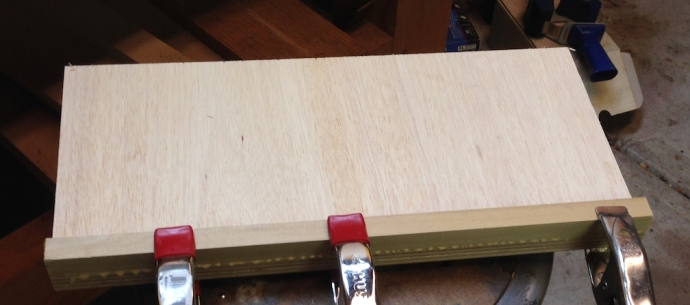 Gluing the Poplar strips to the plywood