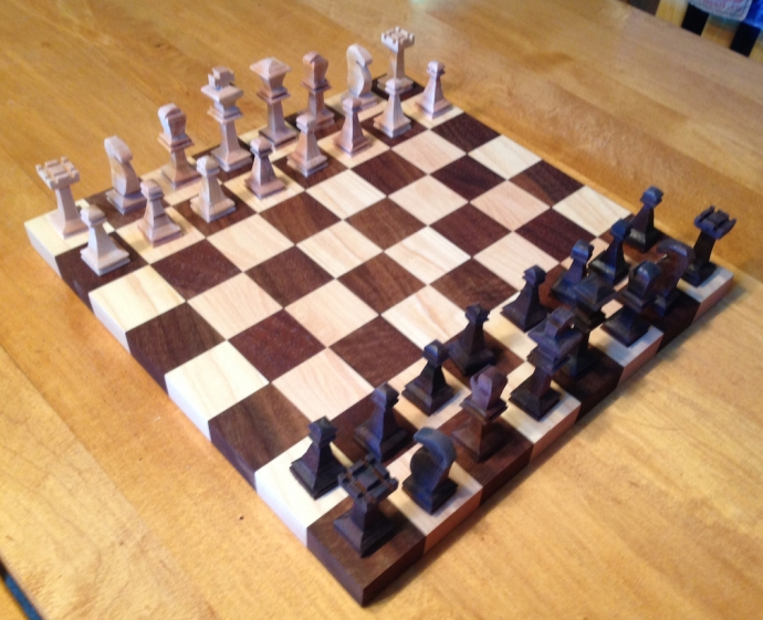 The completed chess set.  I'm impressed, I think my sone did a fantastic job on this...not even counting that he's 14.