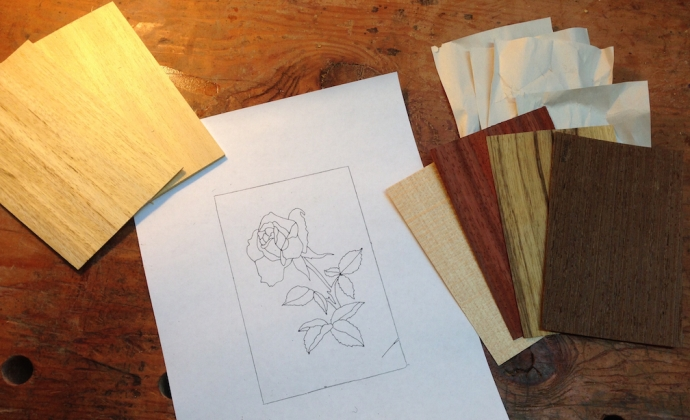 Pattern and materials for a first marquetry project