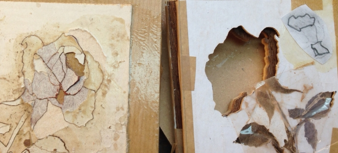 Assembled marquetry on the left, the left over packet on the right.  I've glued my tracings of the holes onto the packet to cut out.  I should have cleaned the dried glue up first and the tracing wasn't completely accurate...another lesson hiding in here.