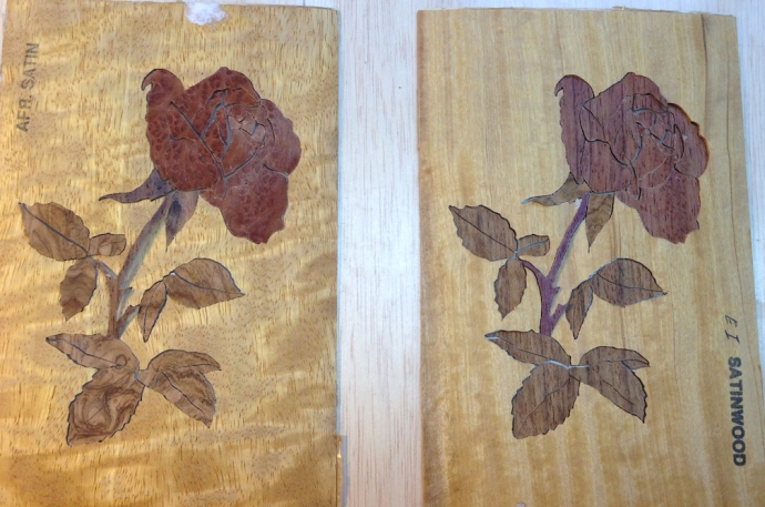 Both roses assembled.  Redwood Burl on the left, Bubinga on the right.