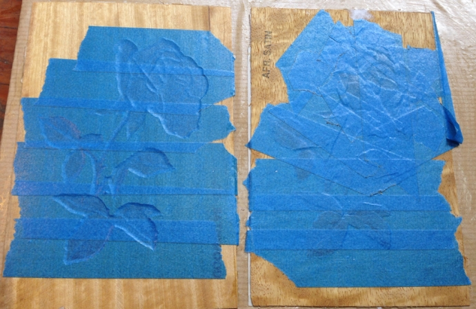"""Fresh out of the clamps, we're looking at the blue tape I used to transfer the picture to the assembly board.  See the heavy outline on the left assembly?  The background is .015"""" (measured"""" thicker than the other pieces."""