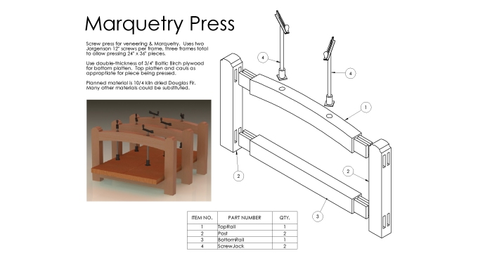 Plans for a marquetry press