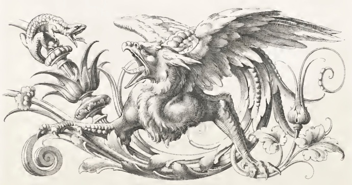 How about a Griffin attacking a Lizard, surrounded by scrolls for a tool chest?