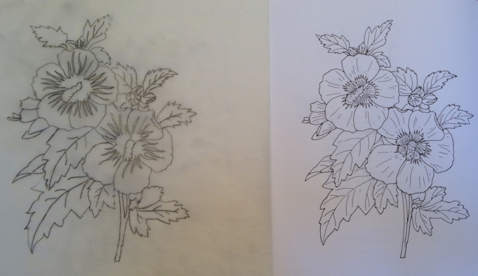 Design for the next marquetry panel.  The original drawing is on the right, my tracing is on the left.