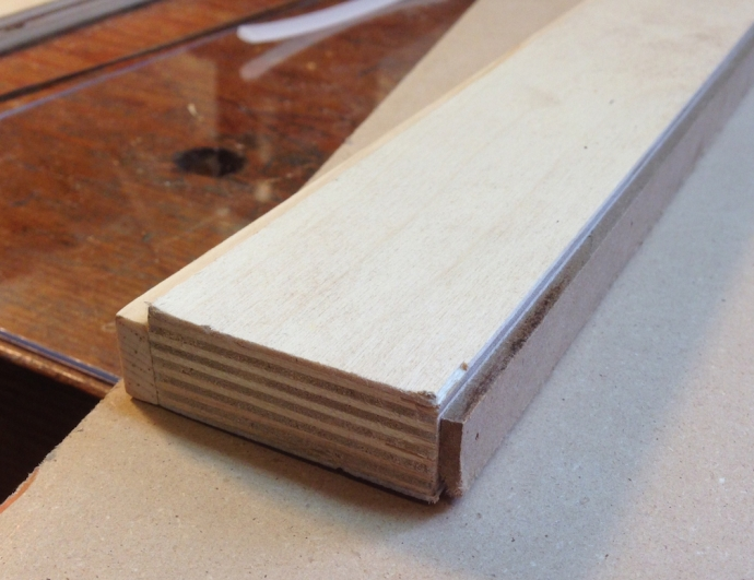 "Fillette Tool, just a strip of plywood with a 1.8"" and 1/4"" spacer on opposite sides."