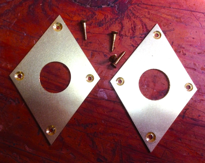 Brass escutcheon plates for my Moxon vise