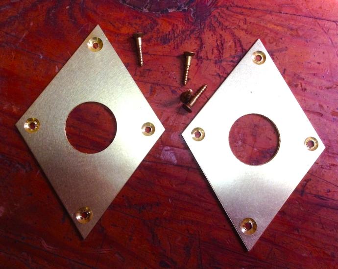 Brass escutcheon plates for my Moxon vise