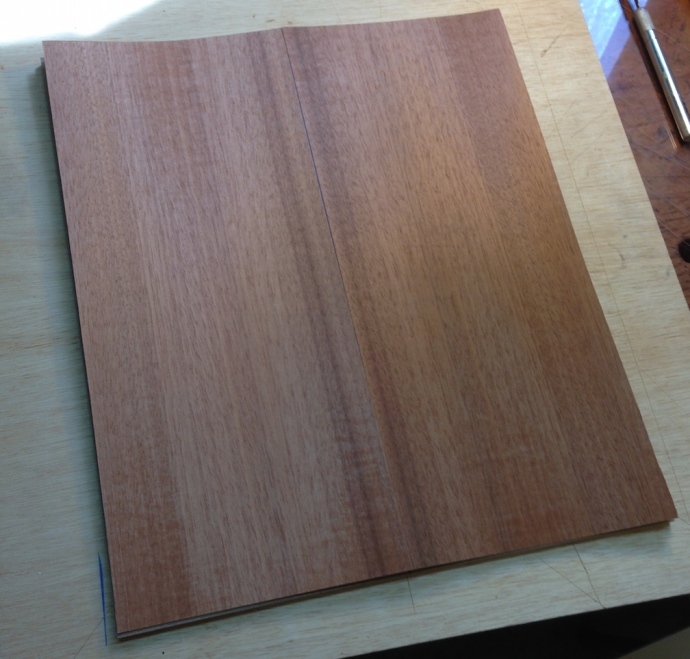 Cherry backer veneer -- this is what you'll see on the inside of the door, if in fact this ever becomes a door.