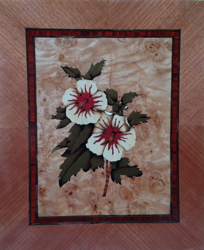 Completed marquetry picture